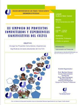 Tercer Simposio de Proyectos Comunitarios y  Experiencias Significativas del CULTCA