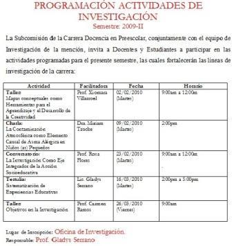 Actividades de Investigación febrero-marzo 2010