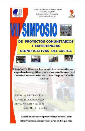 VII SIMPOSIO DE PROYECTOS COMUNITARIOS Y EXPERIENCIAS SIGNIFICATIVAS DEL CULTCA