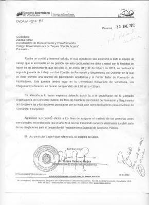 Comunicación Recibida el 27 de Enero de 2012 Taller Ético-Político