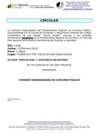 Información Importante Concursos Abierto 13 feb 2012