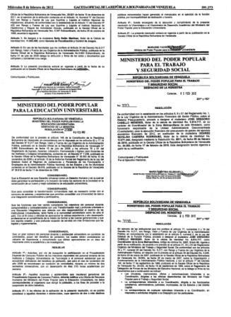 Resolución Ministerial que hace referencia a los Jubilados 08 de febrero de 2012