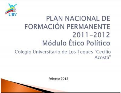 Plan Nacional de Formación Módulo Ético-Político
