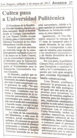 Diario Avance 4 de mayo 2013